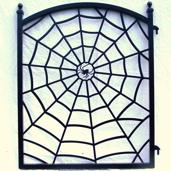 Steel Spider Web Ornamental Iron Fence Gate Metal Art Halloween Decor