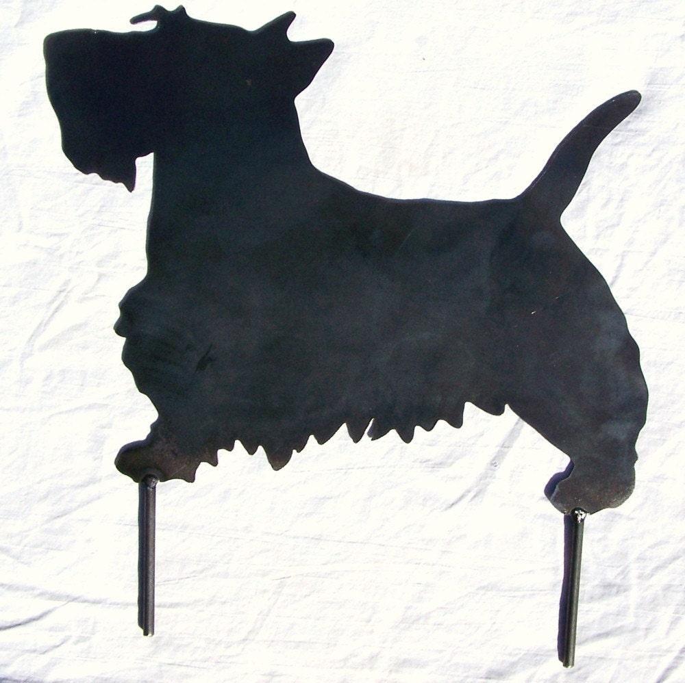 Scotty dog scottish terrier metal art yard decor garden stake for Dog wire art