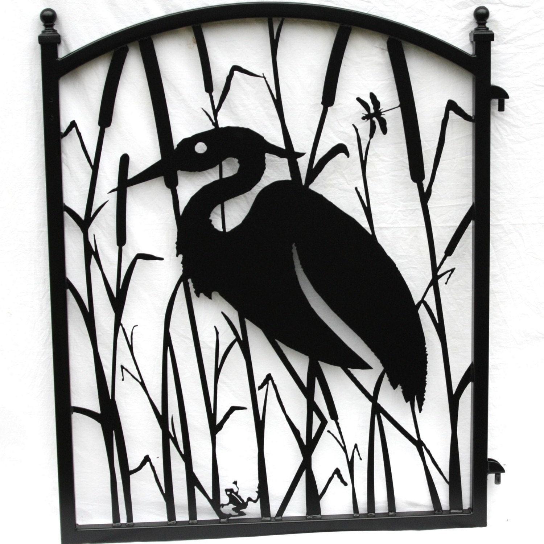 Garden Fence Gate Heron Metal Art Ornamental Iron