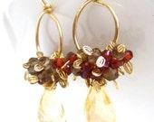 Citrine Hoop Earrings, Smokey Quartz, Crimson Red Garnet, 14k Gold Wire Wrapped, Handmade Jewelry by Sonja Blume