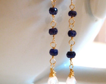 Sapphire Moonstone Earrings, 14k Gold, Wire Wrapped, Blue Sapphires, Blue Moonstone, Handmade Jewelry, Complimentary Shipping