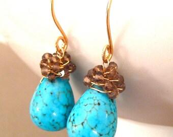 Turquoise Gold Earrings, Smokey Quartz, Cluster Earrings, 14k Gold Wire Wrapped Earrings, Handmade Jewelry, Southwest Raindrops