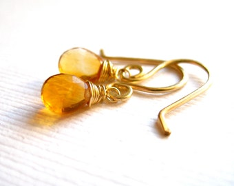 Citrine Gold Earrings Honey Yellow Gemstone Wire Wrapped Teardrop Earrings