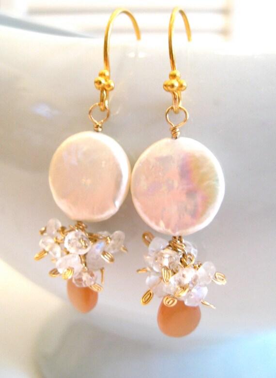 Pearl Earrings, Peach Moonstone, Rainbow Moonstone, Wire Wrapped, Cluster Earrings, 14k Gold, Teardrop Gemstone, Handmade Jewelry