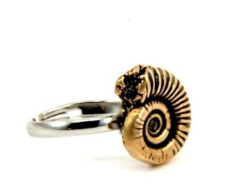 Fossil Keyhole Ring