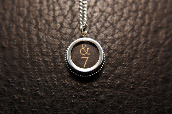 Vintage Typewriter Key Pendant Necklace Charm - Black Silver Rim Glass Top - AND and Number 7 GDJ