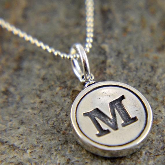 M Letter In Silver Letter M Neckla...