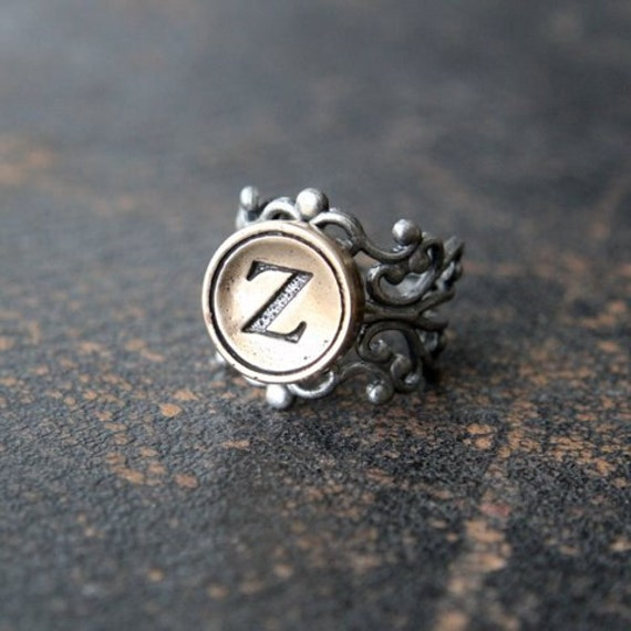 Custom Initial Ring, Bronze Ring, Silver Bronze Ring, Adjustable Letter Ring, Personalized Ring