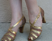 Vintage 1930s Gold & Brocade Evening Dancing Sandals / AS IS - adelinesattic