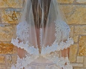 Two tier lace veil, Beaded Alencon lace veil in fingertip with beaded scalloped lace edge with eyelashes, two layers lace wedding  veil