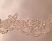 "Trim lace beaded with sequences white or ivory, 1"" width"