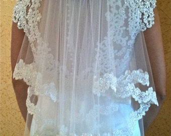 Two tier veil Alencon lace - white or light ivory with beaded scalloped lace edge, fingertip length