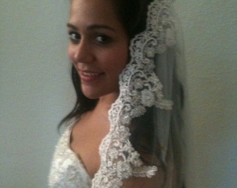 Bridal Lace Veil, Wedding  Spanish veil Mantilla with exclusive beaded lace edge, silver or gold thread around flowers, Mediterranean style