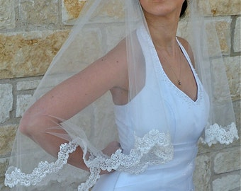 Lace  Veil in two Tier  with Beaded alencon lace edge, fingertip length of 40""