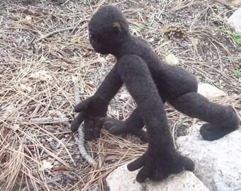 OOAK Black Mountain Gorilla Needle Felted Soft Sculpture