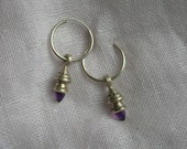 Amethyst Earrings Hoops, Deco hoop with drop, bullet cabachon, purple amethyst jewelry, silver jewelry, amethyst earrings, bullet cab,tribal