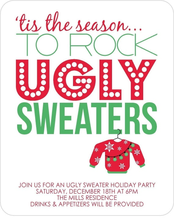 Ugly Sweater Party Invitations - Printable Digital File