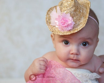 Little Country Cowgirl Pink Satin and Tulle Headband with Feathers