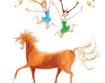 "Indi, Iris&Janie18""x12""Art Print-2 Girls in Blue Green-BraidsTiaras-Jumping-Red Horse-Equestrian Vaulting Gymnastics-WallArt Poster-Gift"
