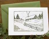 Log cabin in the snow - Rustic vintage woodblock letterpress holiday card