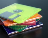 Floppy Disk Coasters - NEON - Techie Gift - Tech Lover