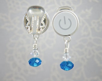 Power Button Earrings - Blue Drop - Mac Geek Earrings - Clip On