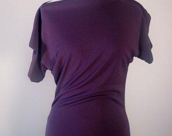Off the Shoulder Gown Slim in Deep Purple Matte Jersey