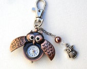 Copper Owl Clock Keychain, Mixed Metal Key Chain