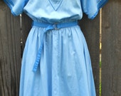 1970s Peter Pan Collar Rockabilly Vintage Day Dress - Holland