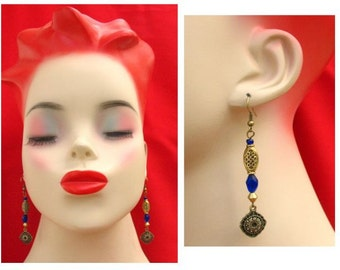 Gold Celtic Navy Blue Crystal Earrings Handmade Jewelry Women Accessories Gift