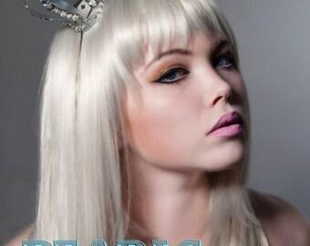 Silver Glitter Crown Tiara Goth Gothic Lolita Couture Millinery Tiara Hat Fantasy Eccentric Bridal Steam Punk Princess by Pearls & Swine