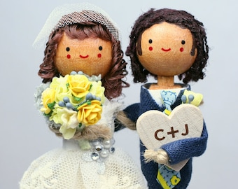 Custom Wedding Cake Topper with 2x DIMENSIONAL HAIR and VALENTINE