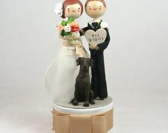 Custom Keepsake Wedding Cake Topper with 1x CUSTOM CLOTHING and 1x PET