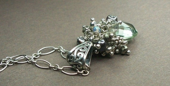 Green Amethyst Sterling Silver Necklace with Labradorite, Pyrite, Freshwater Pearls AAA Luxe Wire Wrapped 925