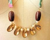 Tiki Necklace - Brass Shell & Pearl neck piece - Brazen Design / Simone's Rose Collection - OOAK