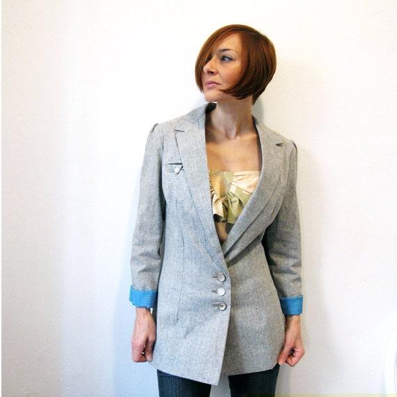 RESERVED for MARCIA - Hepburn Eco Boyfriend Blazer - Recycled Hemp & Organic Cotton - Grey mix