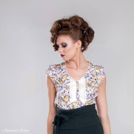 RESERVED for Anita - Eco fashion blouse in floral organic cotton silk / Pearl snap shirt