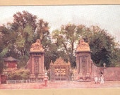 Vintage Antique Postcard British location The lion gates Hampton Court  London England
