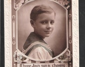 Antique Vintage children birthday of a boy colored child postcard navy naval sailor theme