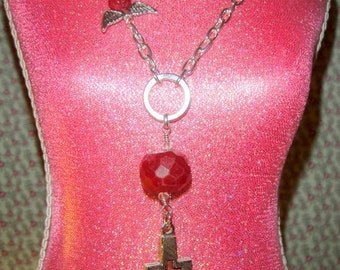 For the Love of the Cross           ( Ruby Cross and Wing Necklace)