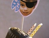 Pirate Cupcake Toppers — Pirate Birthday Decorations — Customized with Child's Face as Pirate