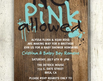 Baby Boy Baby Shower Invitation: No Pink Allowed (DIY Printable PDF Invite)