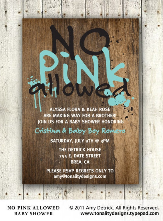 Baby Boy Baby Shower Invitation: No Pink Allowed DIY Printable PDF