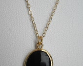 black glass drop necklace ( in gold or silver )