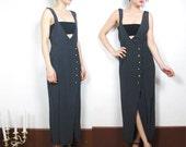 80s Navy Polka Dot Overall Dress (S/M)