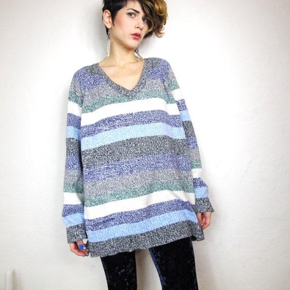 S A L E 90s Striped School Yard Wide Box Sweater (L/Xl)