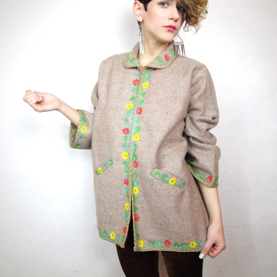 SALE 60s Bohemian Folk Floral Embroidered Wool Jacket (M/L)