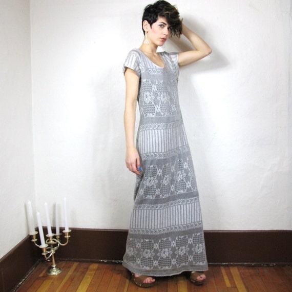 S A L E 90s Silver Crochet Lace Maxi Dress (M)