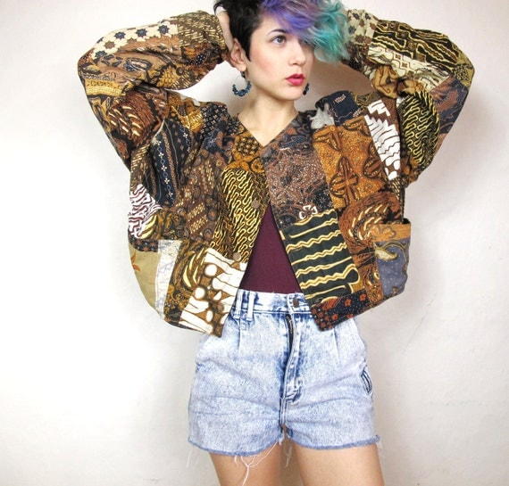 Tribal African Patchwork Slouchy Cropped Jacket (M/L)
