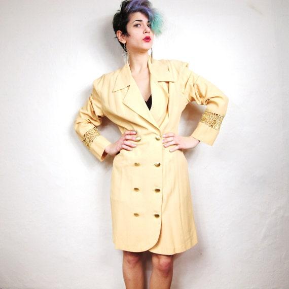 S A L E  Daisy Crochet Cut Out Panels Power Woman Blazer Dress (M)